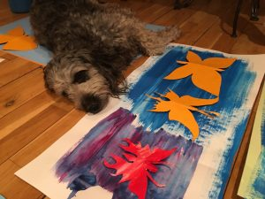 yoga, dog, butterflies,